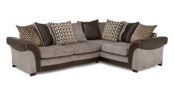 Waltz Left Hand Facing 3 Seater Pillow Back Deluxe Corner Sofa Bed