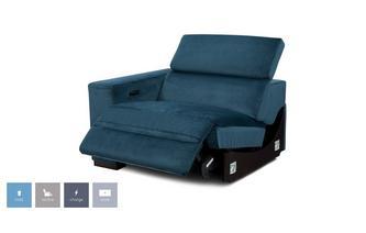 Velvet Left Hand Facing Arm 1 Seat Power Unit and Manual Headrest