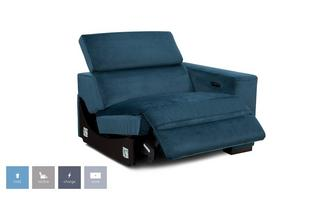 Velvet Right Hand Facing Arm 1 Seat Power Unit and Manual Headrest