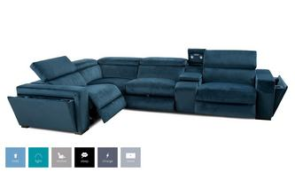 Velvet Right Hand Facing 2 Corner 1 Power Recliner and Console