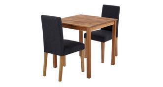 Westgate Vierkante eettafel en reeks van 2 volledig gestoffeerd stoelen