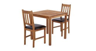 Westgate Vierkante eettafel en reeks van 2 stoel met latjes rugleuning
