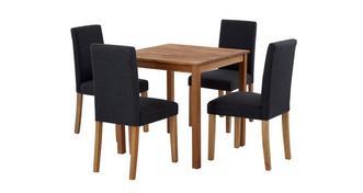 Westgate Vierkante eettafel en reeks van 4 volledig gestoffeerd stoelen