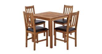 Westgate Vierkante eettafel en reeks van 4 stoel met latjes rugleuning