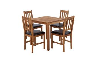 Square Table & Set of 4 Slat Back Chairs