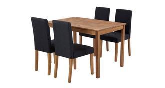 Westgate Vaste rechthoekig eettafel en reeks van 4 volledig gestoffeerd stoelen