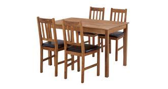Westgate Vaste rechthoekig eettafel en reeks van 4 stoel met latjes rugleuning