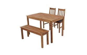 Rectangular Table & Set of 2 Slat Back Chairs and 1 Bench Westgate