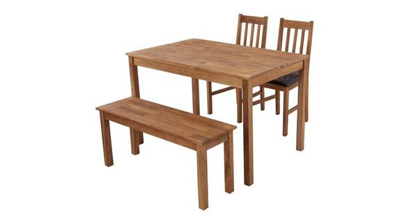 Westgate Rectangular Table & Set of 2 Slat Back Chairs and 1 Bench