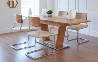 Westwick Extending Dining Table & 4 Wood Back Chairs Westwick