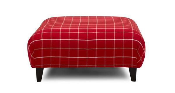 Winslow Plain Check Large Footstool