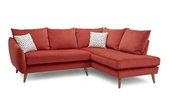 Velvet Left Hand Facing Open End Corner Sofa