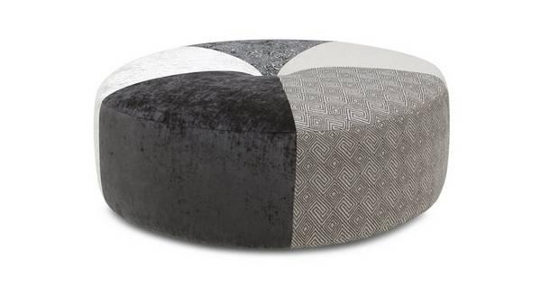 Zahara Patroon ronde voetenbank Footstool