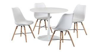 Zannos Round Fixed Top Table & 4 Gemm Chairs