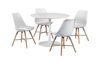Round Fixed Top Table & 4 Gemm Chairs