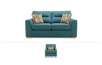 Zest Clearance 2 Seater Sofa Bed, Accent Chair with 1 Pattern Bolster and Pattern Scatter Cushions Revive