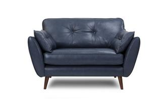 Leather Cuddler Sofa Zinc Leather