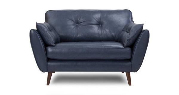 Zinc Leather Cuddler Sofa