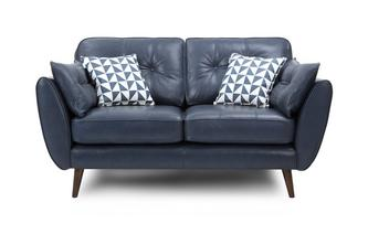 Zinc Leather 2 Seater Sofa Zinc Leather