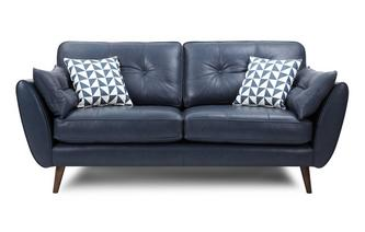 Zinc Leather 3 Seater Sofa Zinc Leather