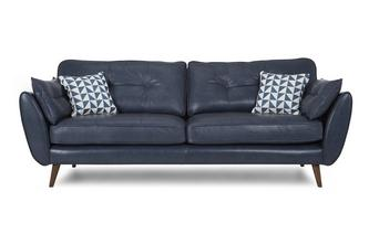 Leather 4 Seater Sofa Zinc Leather