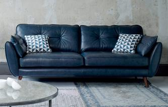 Zinc Leather 4 Seater Sofa Zinc Leather