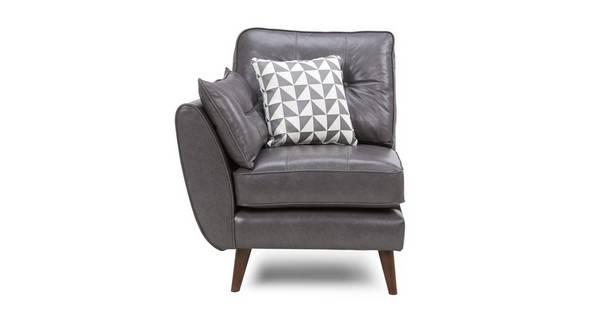 Zinc Leather Left Hand Facing 1 Arm 1 Seat Unit