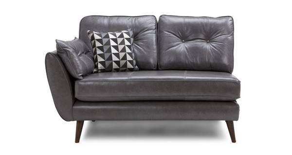 Zinc Leather Left Hand Facing 1 Arm 2 Seat Unit
