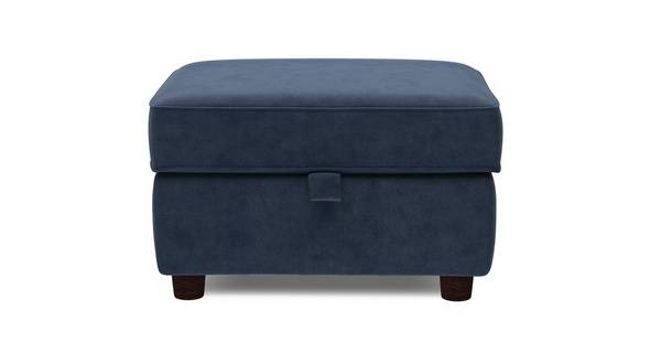 Zinc Velvet Plain Storage Footstool