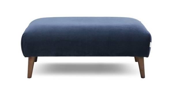 Zinc Velvet Plain Large Footstool