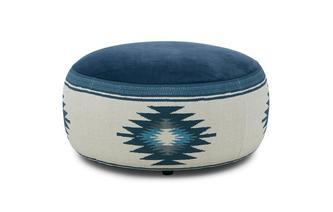 Velvet Pattern Round Footstool