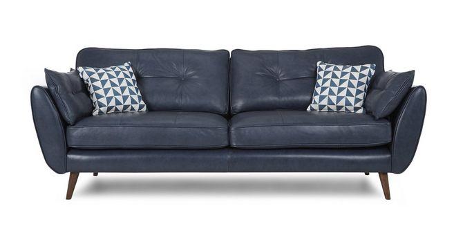 Zinc Leather: 4 Seater Sofa