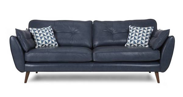 Zinc Leather 4 Seater Sofa