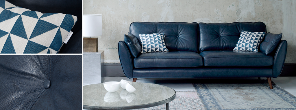Zinc Modern leather sofa by French Connection