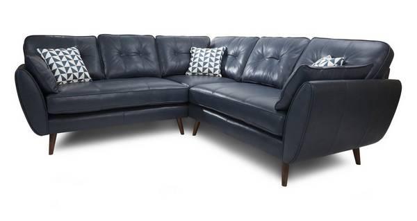 Zinc Leather 2 Piece 2 Arm Corner Group