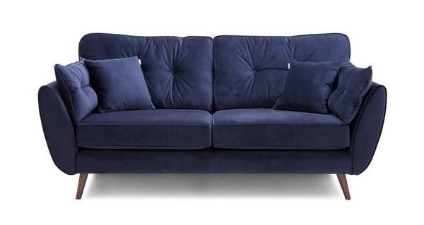 Zinc Velvet 3 Seater Sofa